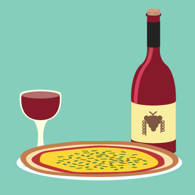 Red wine with a pizza.